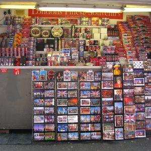A postcard shop in London.