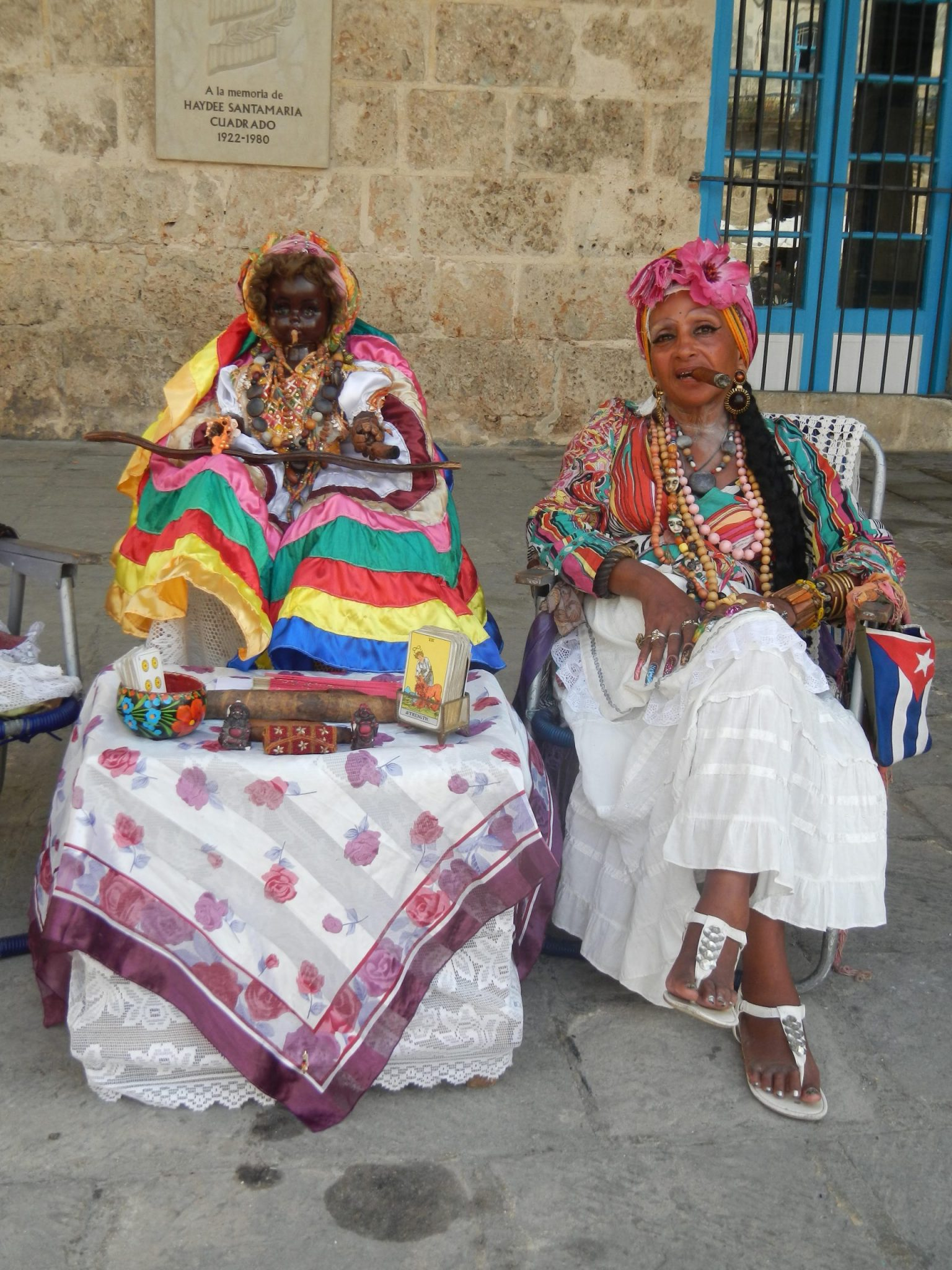 A photo of a Santera on the street