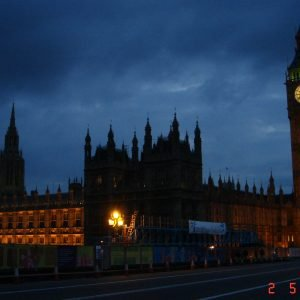 Big Ben at night in London after Anna's relocation.