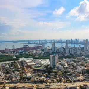 A photo of the skyline in Haifa, Israel