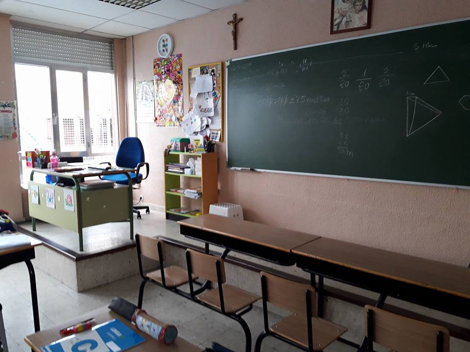 Sarah's classroom, where she enjoys teaching English in Spain