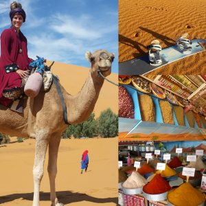 A collage of photos including Morgan on a camel, a variety of spices at a market and a snowboard in the desert sand from five years ago.