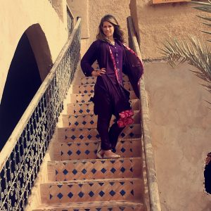 Morgan posing on some stairs in Morocco five years ago