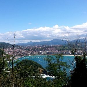 The coastline of San Sebastian from far away, which Morgan visited five years ago