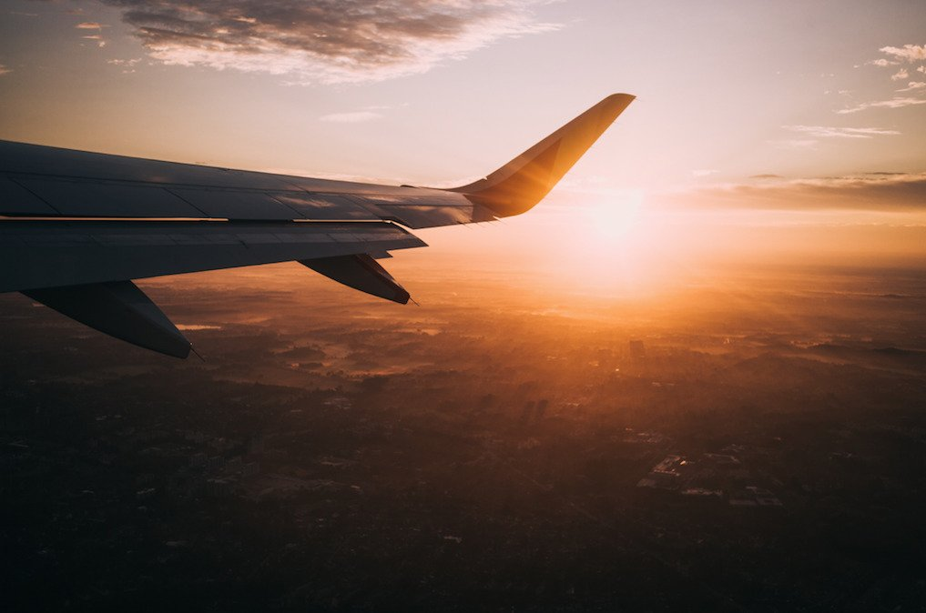 travel abroad on a plane