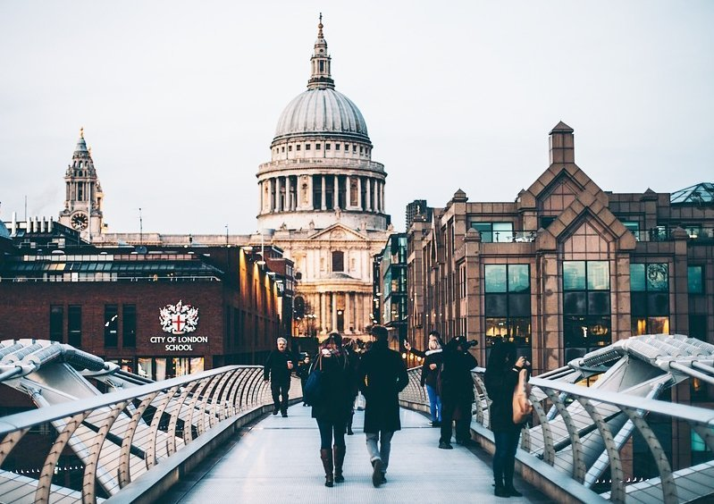 Study Abroad in London students walking to class