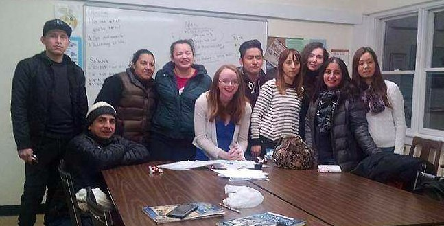 ESL Teacher with students