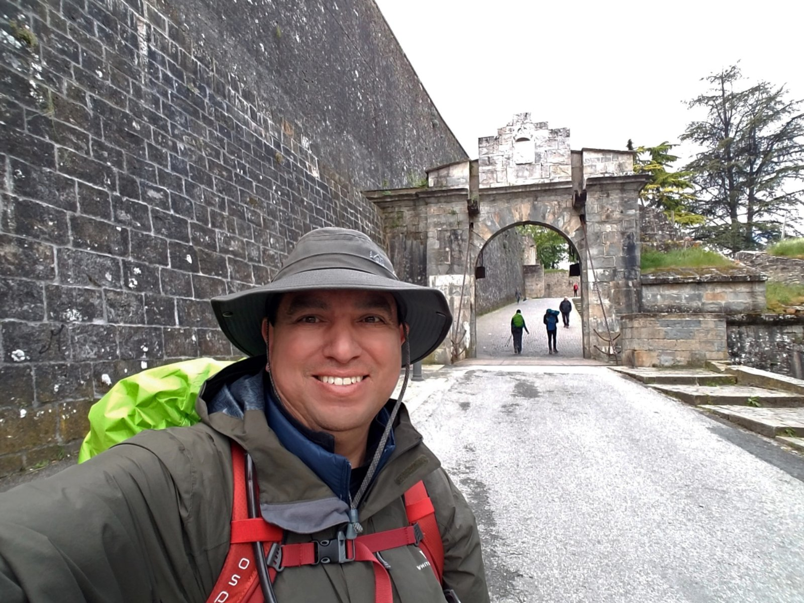 Joe Florez in a town while hiking the Camino