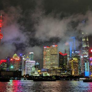 Shanghai during a cloudy night.