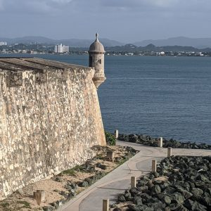 An old fort in front of the ocean in Puerto Rico