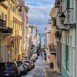 A cobblestone street overlooking the ocean in Puerto Rico