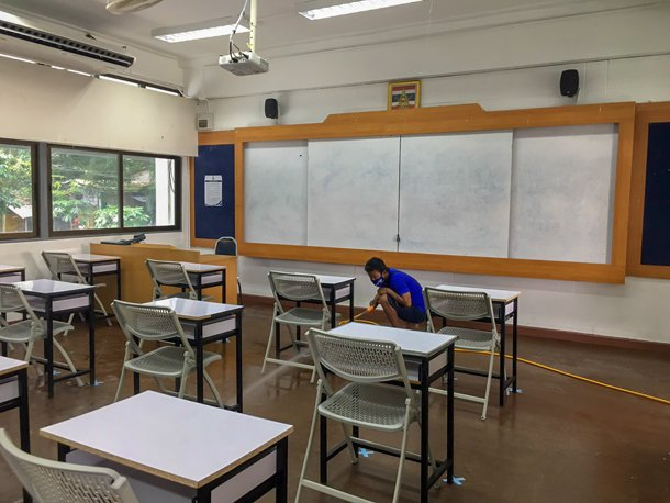 Disinfecting the classroom before students return back to school