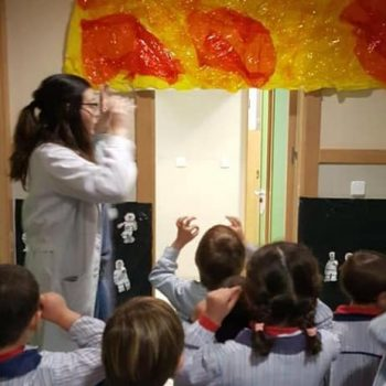 Sarah leading her class while teaching English in Spain