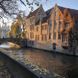 A view of the canal in Bruges, Belgium.