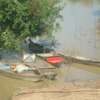 A photo of boats, both the villagers transportation and livelihood.