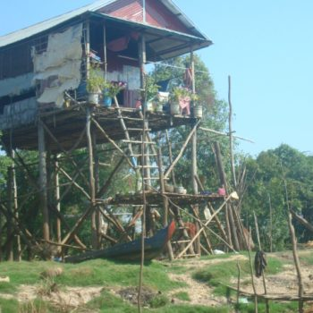 A photo of a house built on stilts to avoid the floodwaters during the rainy season