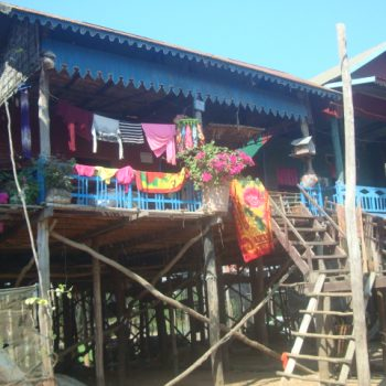 A photo of drying laundry in the village