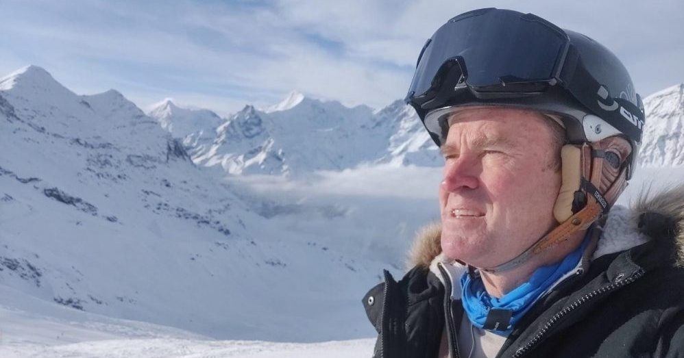Adam Rogers taking a selfie while skiing in Switzerland.