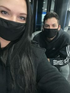 Wearing masks in the airport