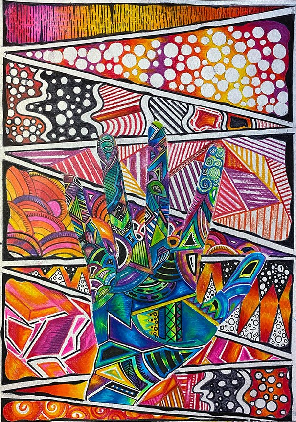 Artwork by a stundent, refreshing our knowledge of colour theory and the element of line
