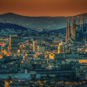 Barcelona in the light of the setting sun.