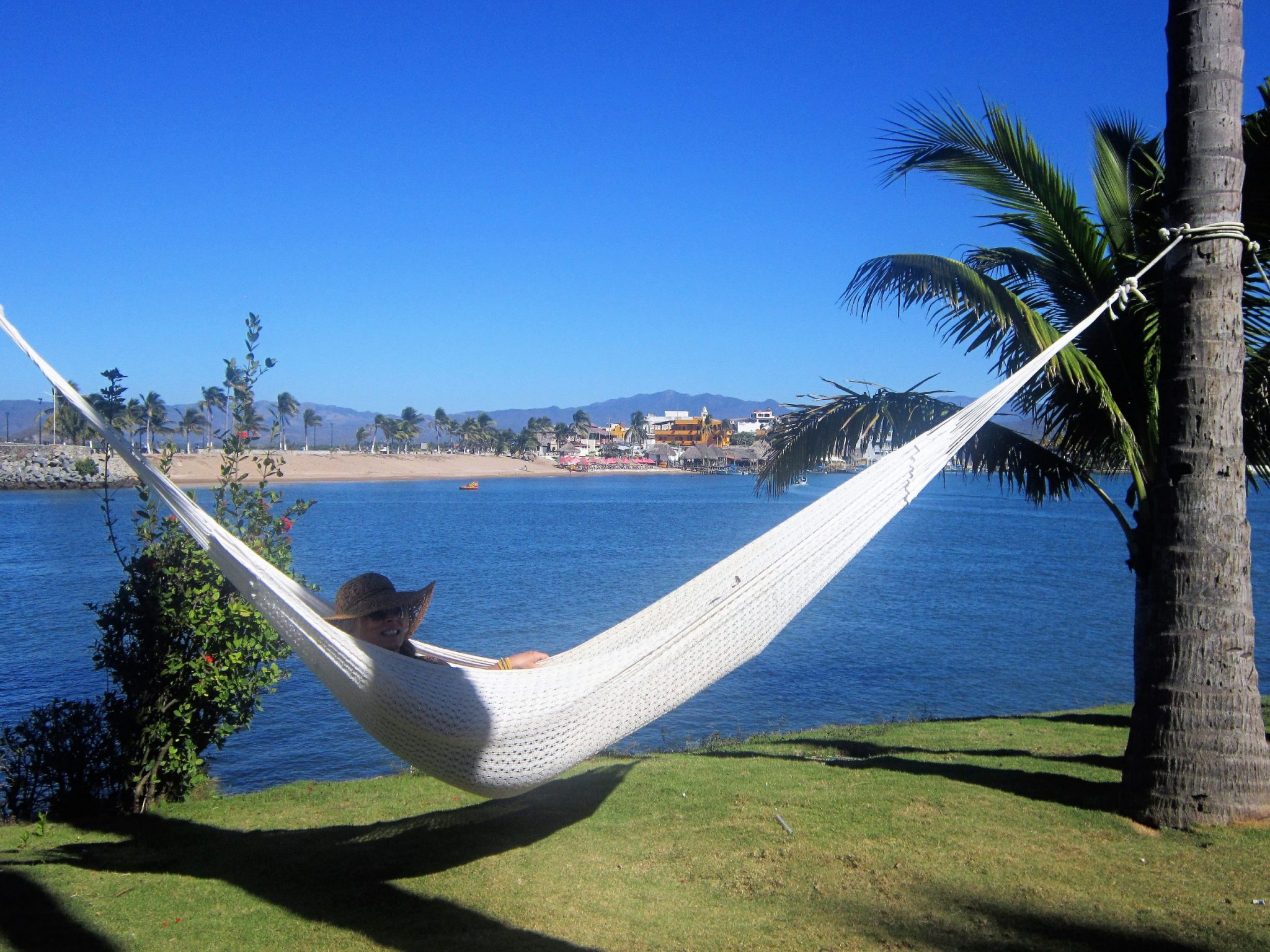 Ed's wife in a hammock at Barra de Navidad during their vacation in Mexico