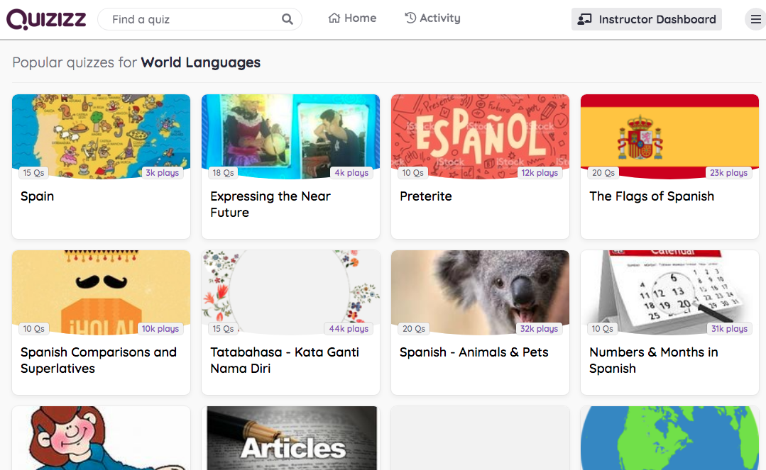 A screencap of Quizizz, a tool perfect for virtual learning.
