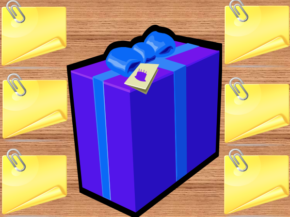 A graphic for the game What's in the Box?