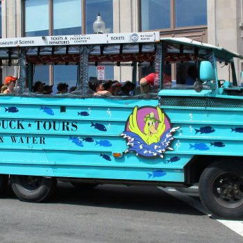 A photo of a boat car that gives tours, one of the cool things to do in Boston.