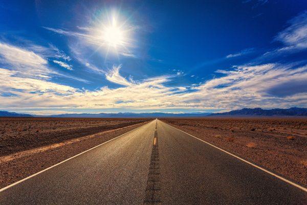 An open road in the desert in California