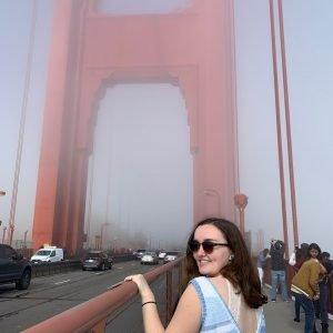 Carmen in San Francisco, at the Golden Gate Bridge.