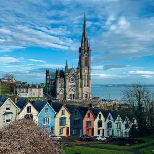 A row of colorful houses in Cobh, County Cork in Ireland
