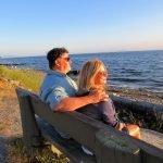 Ed and his wife looking out over the water in Crescent Beach near Vancouver.