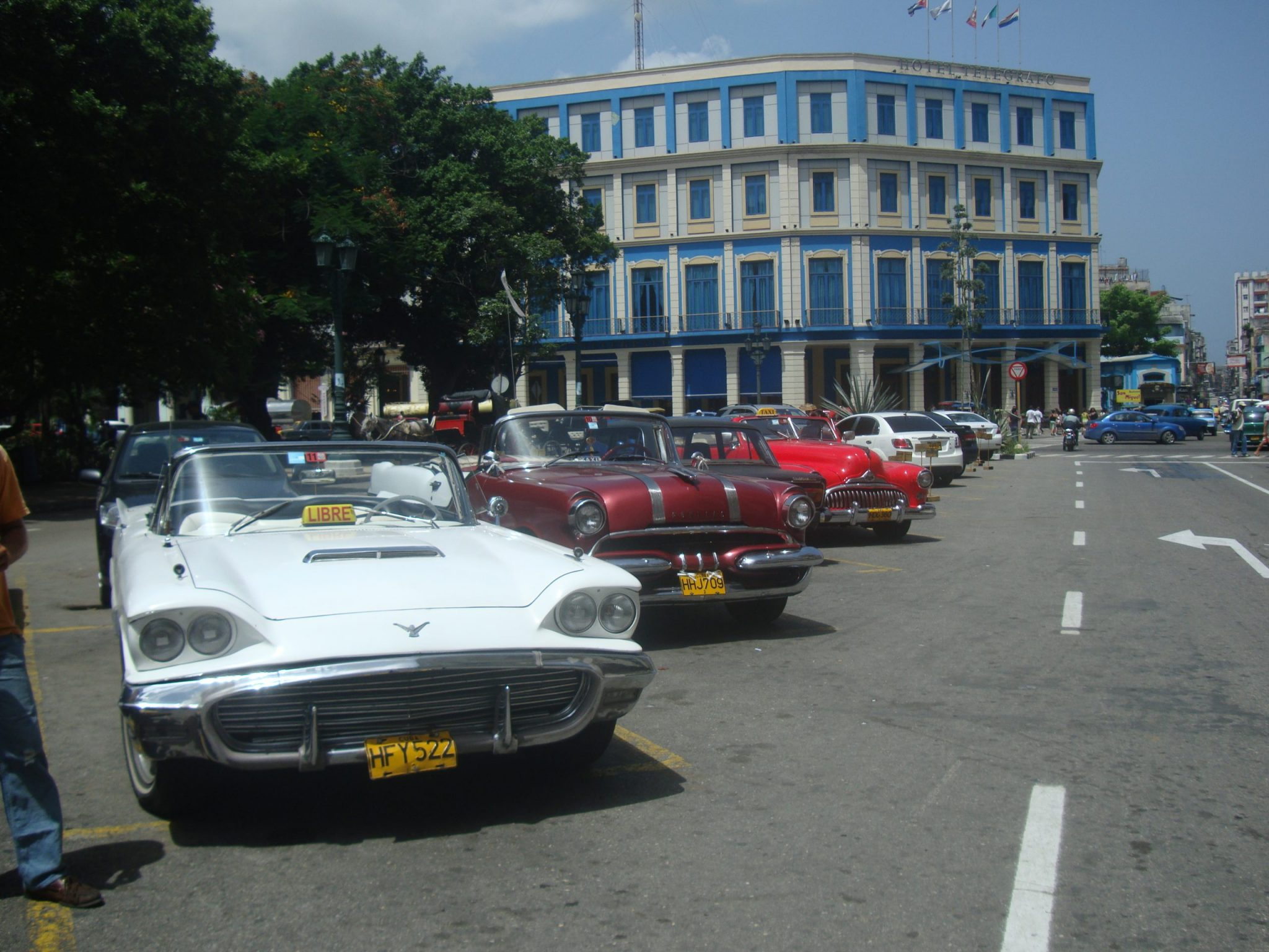 A photo of the old cars that drive around Havana, Cuba