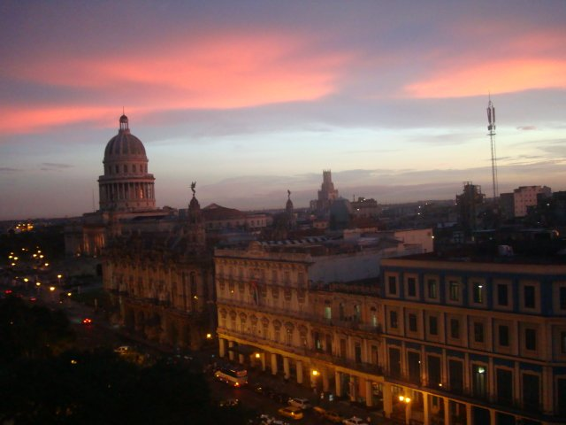 The setting sun in Havana