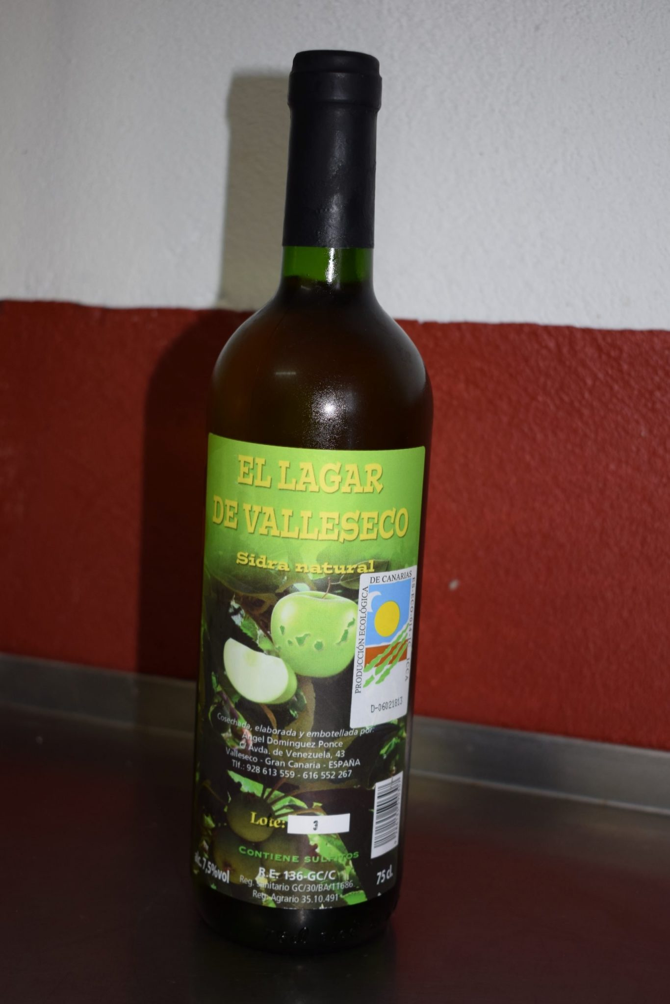 A bottle of cider with the label