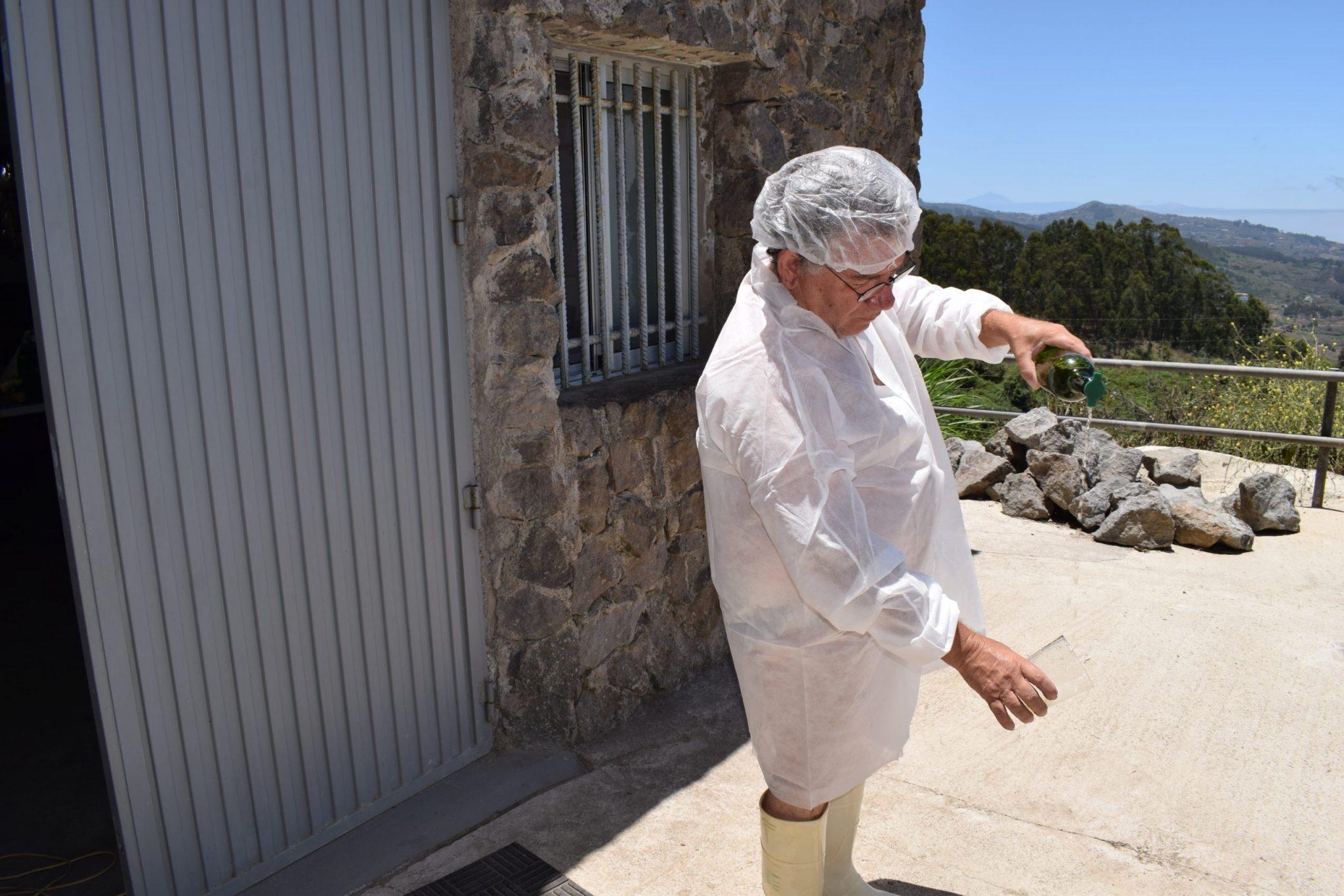 Ángel wearing protective gear