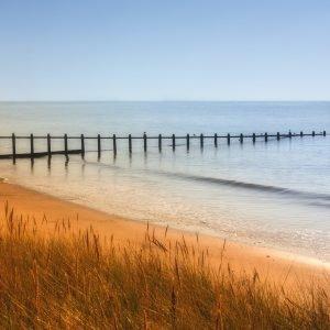 A grassy beach with a pier in Devon.