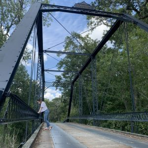 Emma on a bridge in the states.