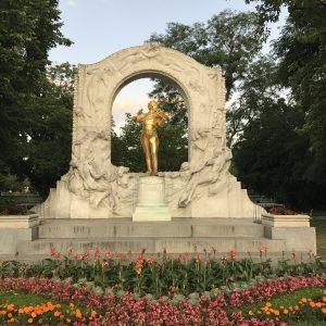 A beautiful golden garden statue somewhere in Europe.