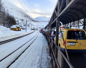 A photo of a traffic jam in Furka Pass on the way to start skiing in Switzerland.