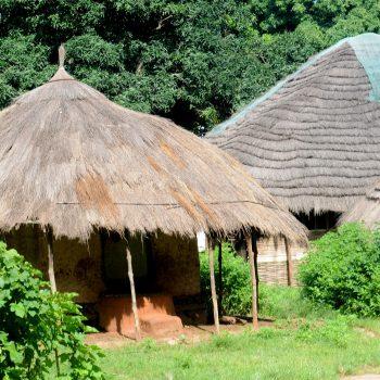 Huts in Guinea Bissau in West Africa