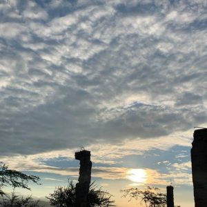 A cloudy sky just before sunset.
