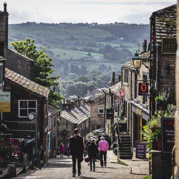 Haworth's Main Street in Yorkshire.