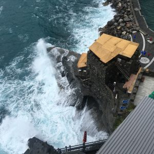 The rough seas from the medieval look out in Cinque Terre