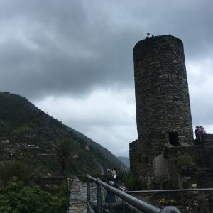 The medieval lookout tower in one of the towns in Cinque Terre