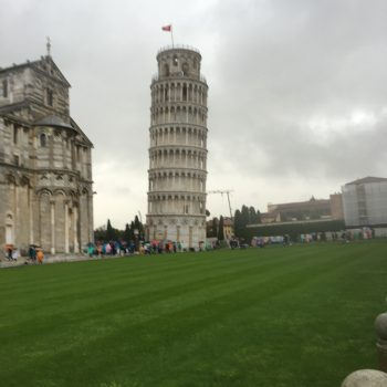 The Leaning Tower of Pisa in the rain