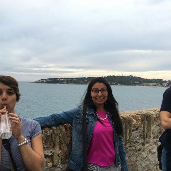 Dounia, Yennifer, and Nikos enjoying the seaside in Antibes.