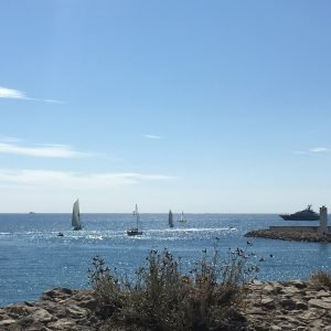 The view of sailboats on the Mediterranean Sea from Fort Carre during the Euro tour.