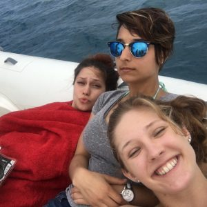 Dounia, Rachel, and I hanging out on the skiff in the Mediterranean Sea.